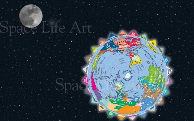 South Pole view with Time Zones and Moon (V12-2 Horizontal)